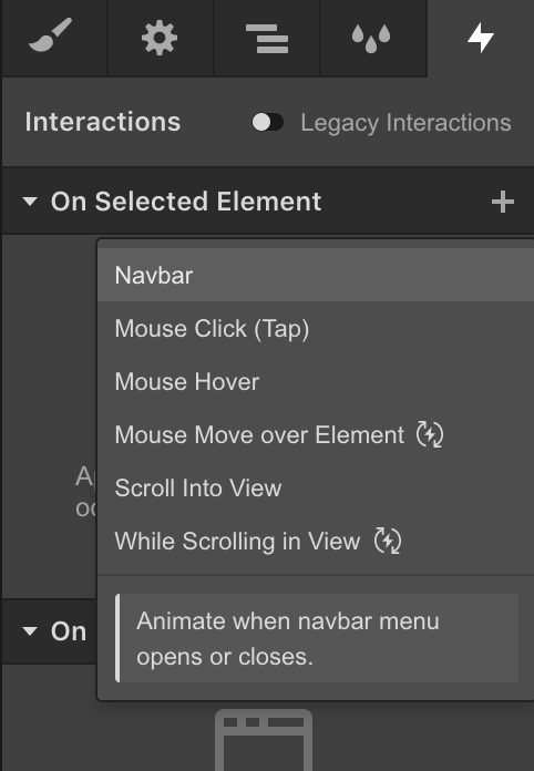 Navbar trigger in the Webflow Interactions panel