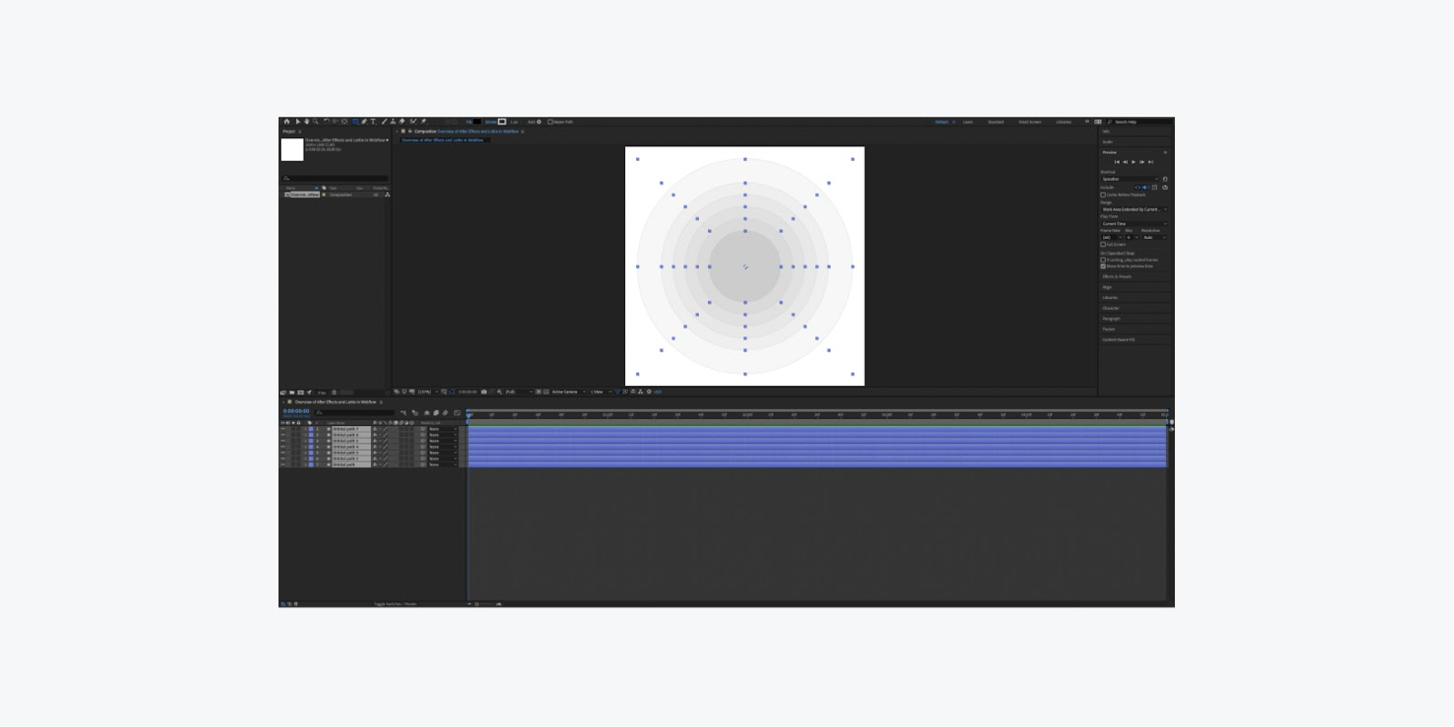 After effects ui dashboard with all the layers selected.