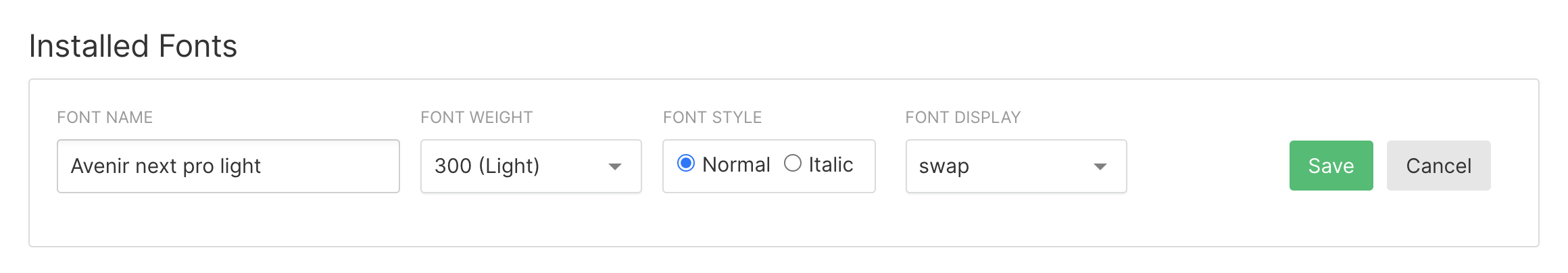 Edit font display settings.