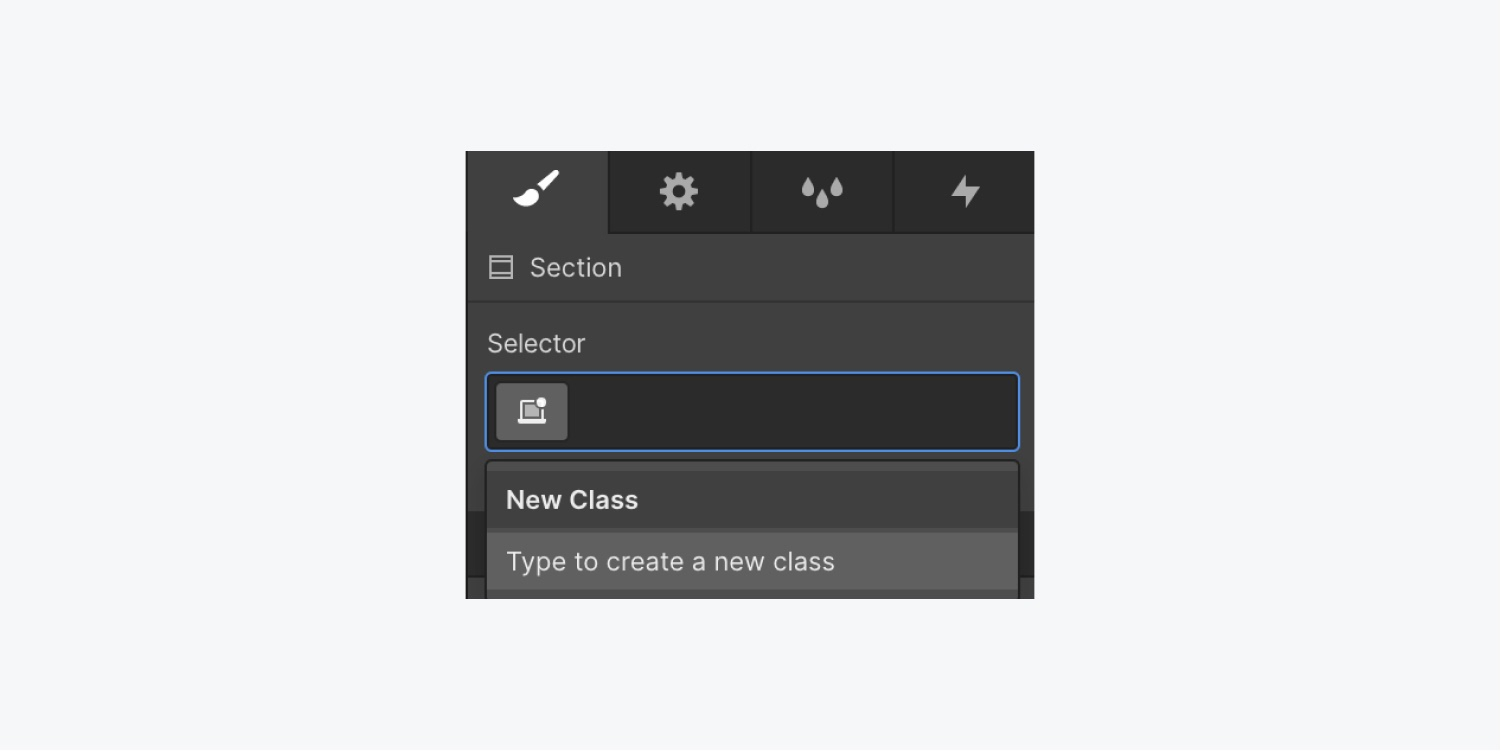 The style panel displays a text input field in the selector section to type the class name.