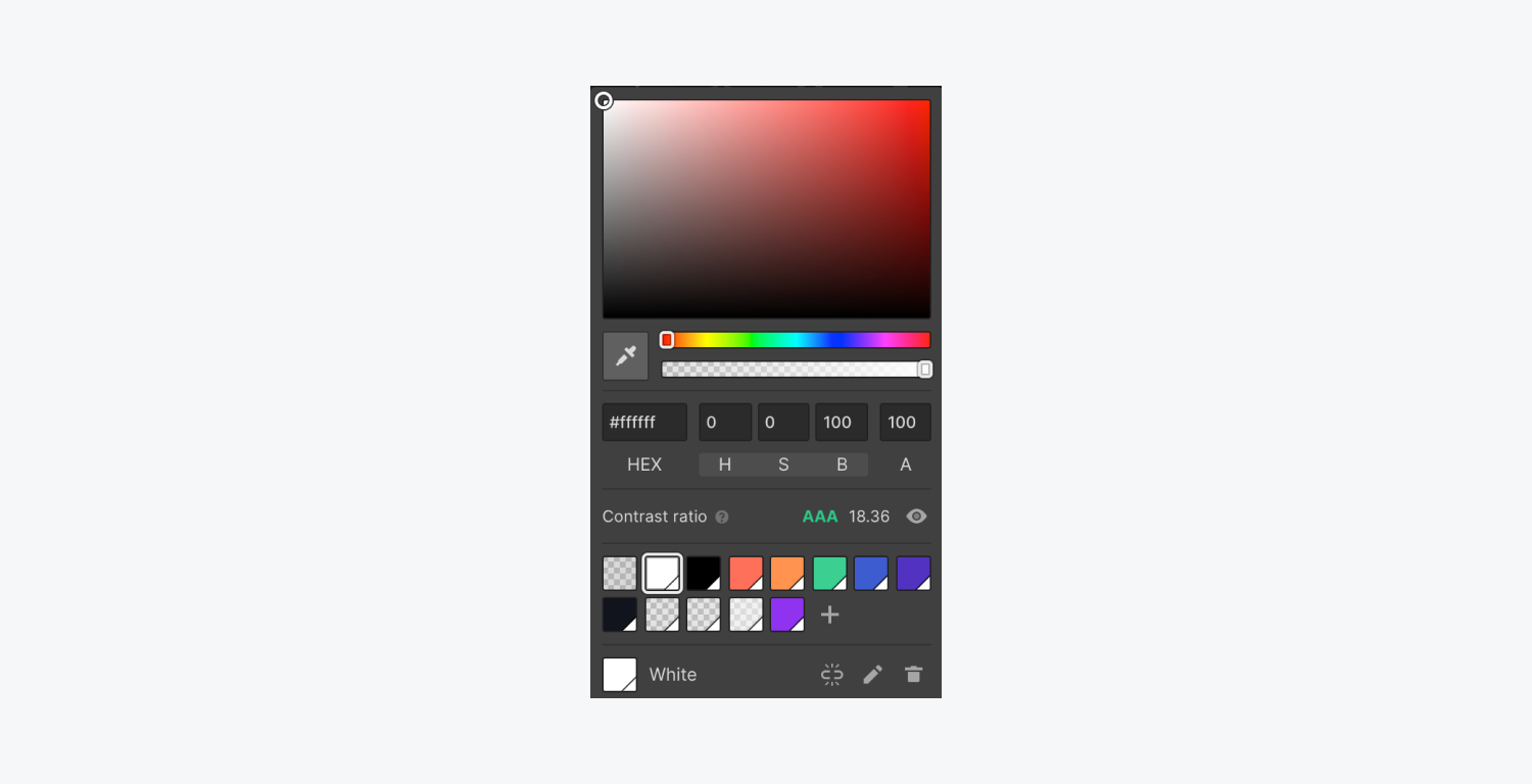 Webflow's color contrast checker in the color picker for text elements is highlighted.
