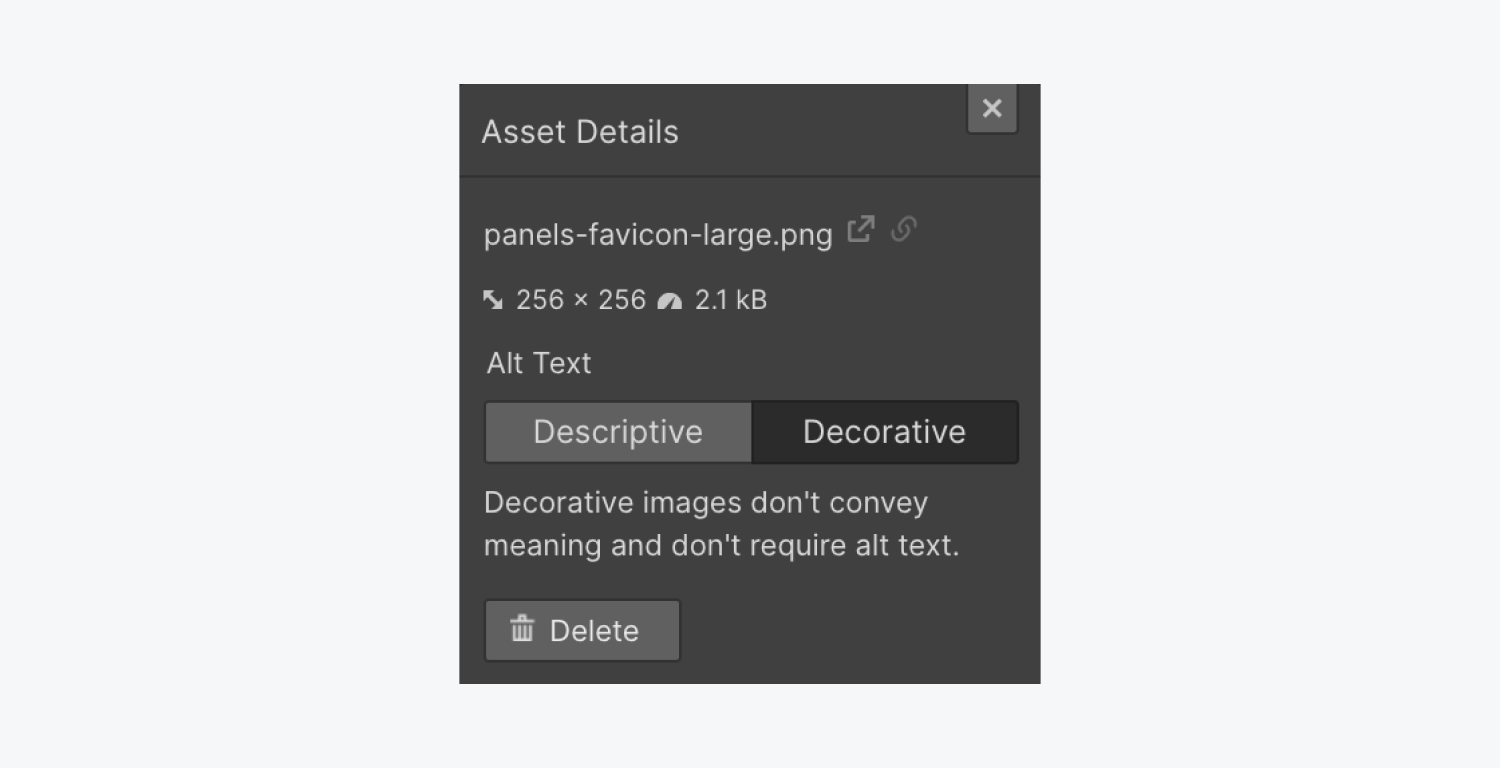 """The Asset details modal allows you to choose from adding descriptive alt text, or setting the asset as """"decorative,"""" which doesn't require alt text."""