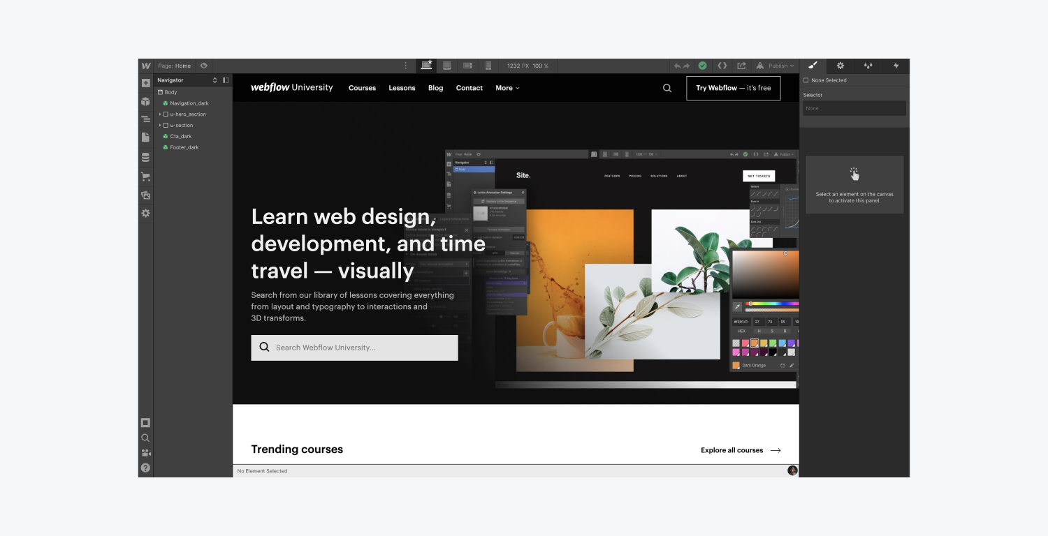 A Webflow designer displays the Webflow University home page. The Navigator and style panel are open in view.