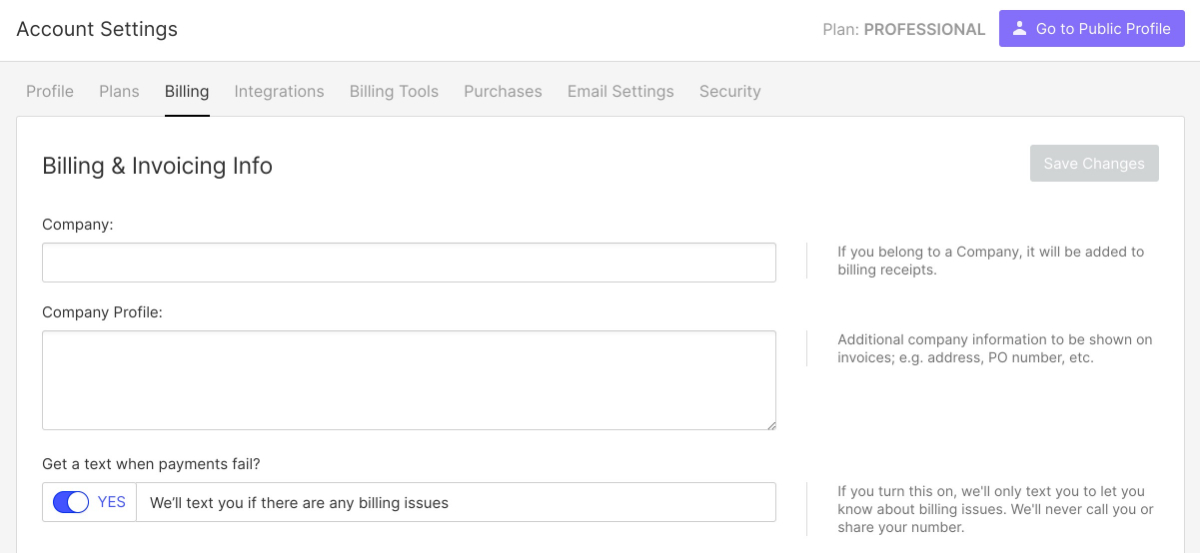 Webflow Account Billing Info