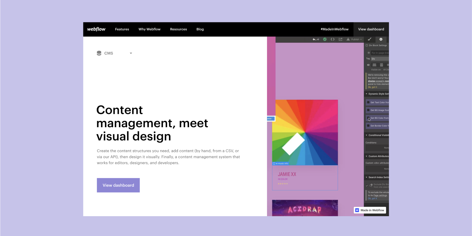 The Webflow CMS landing page is displayed with a color lavender background.