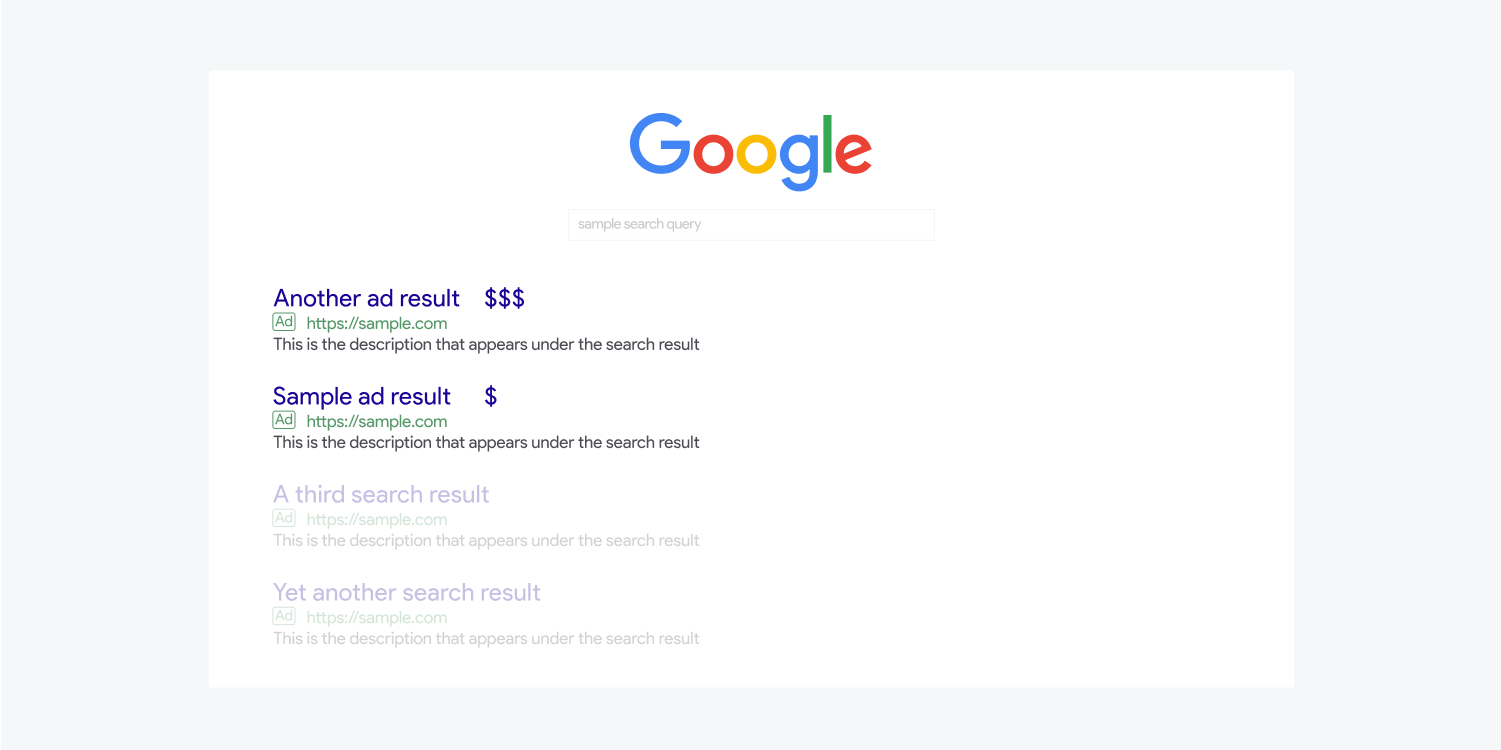 A Google sample search query displays Paid search results