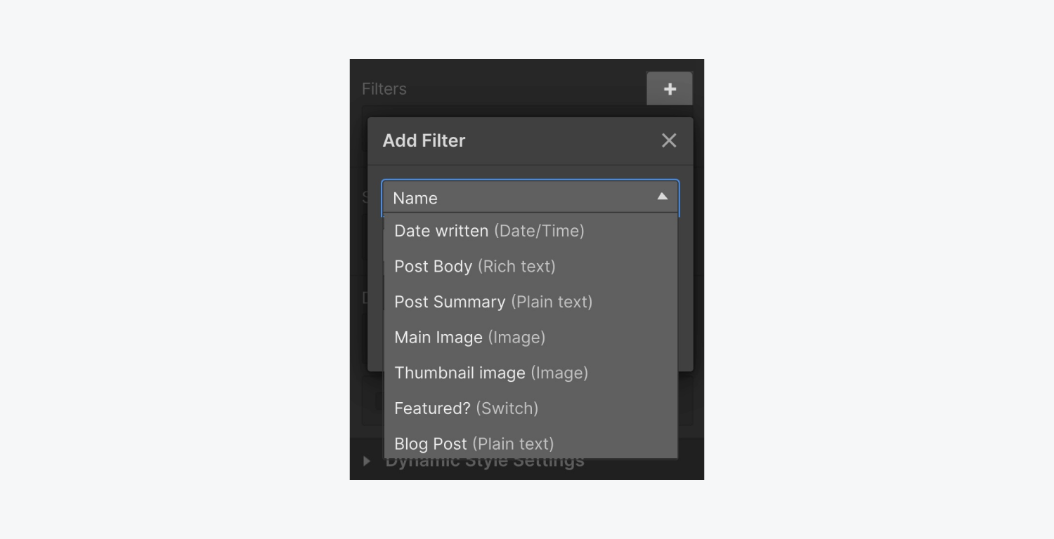 The add filter drop down menu includes date written, post body, post summary, main image, thumbnail image, featured? and Blog Post.
