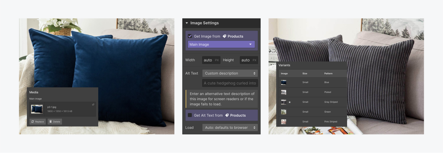 """On the left, a product image of blue pillow cases is connected to the """"Main Image"""" field of the """"products"""" collection in the middle. On the right, a product image of gray ribbed pillow cases is displaying the """"variant image"""" of the default variant because this product has multiple variants."""