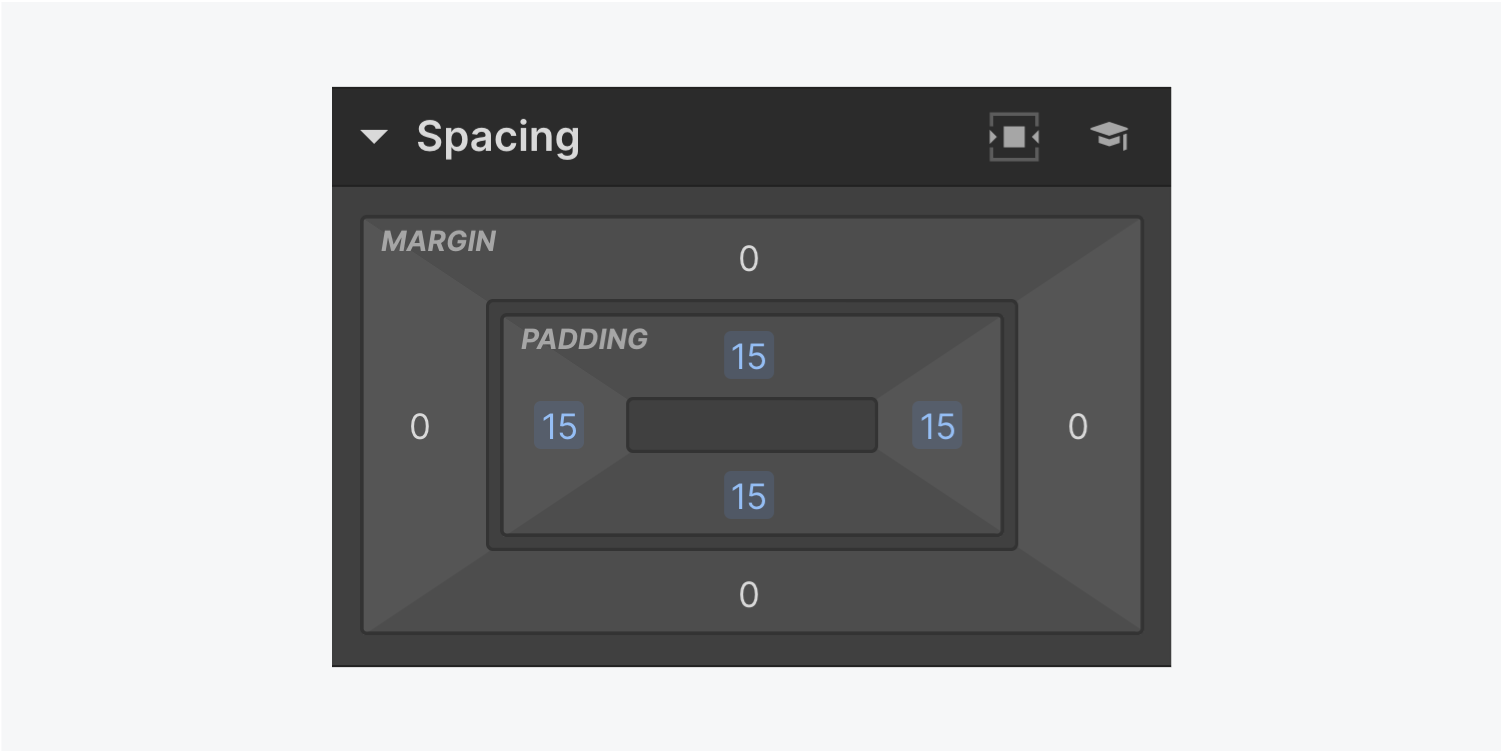 The spacing panel displays 15 pixels of padding on all four sides, and no margin added.