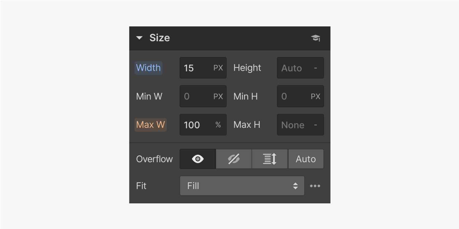 The size settings panel displays text input fields for width, height, minimum width, minimum height, max width and max height. It also displays the four Overflow buttons, visible, hidden, scroll and auto. There is a dropdown menu for Fit settings.