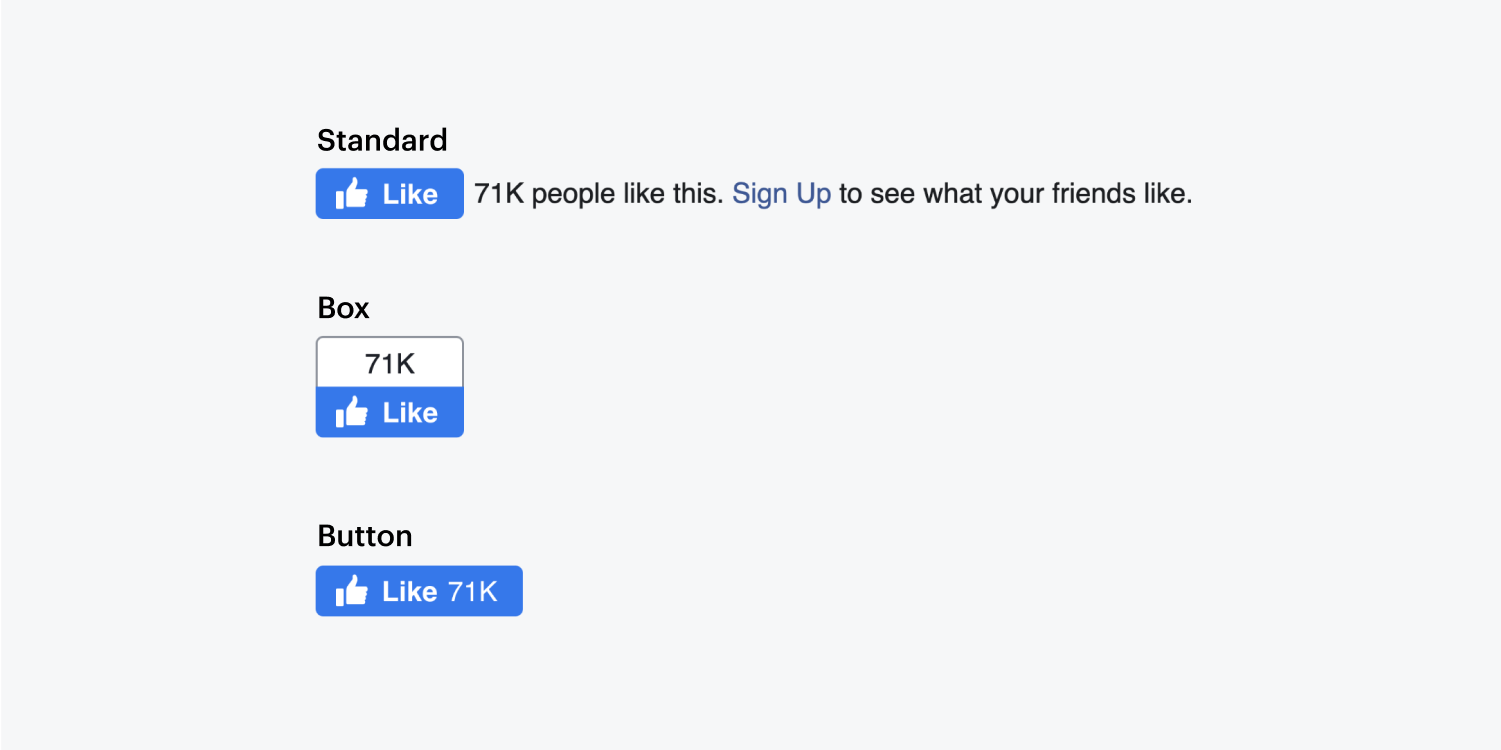 The three facebook layout options are displayed.