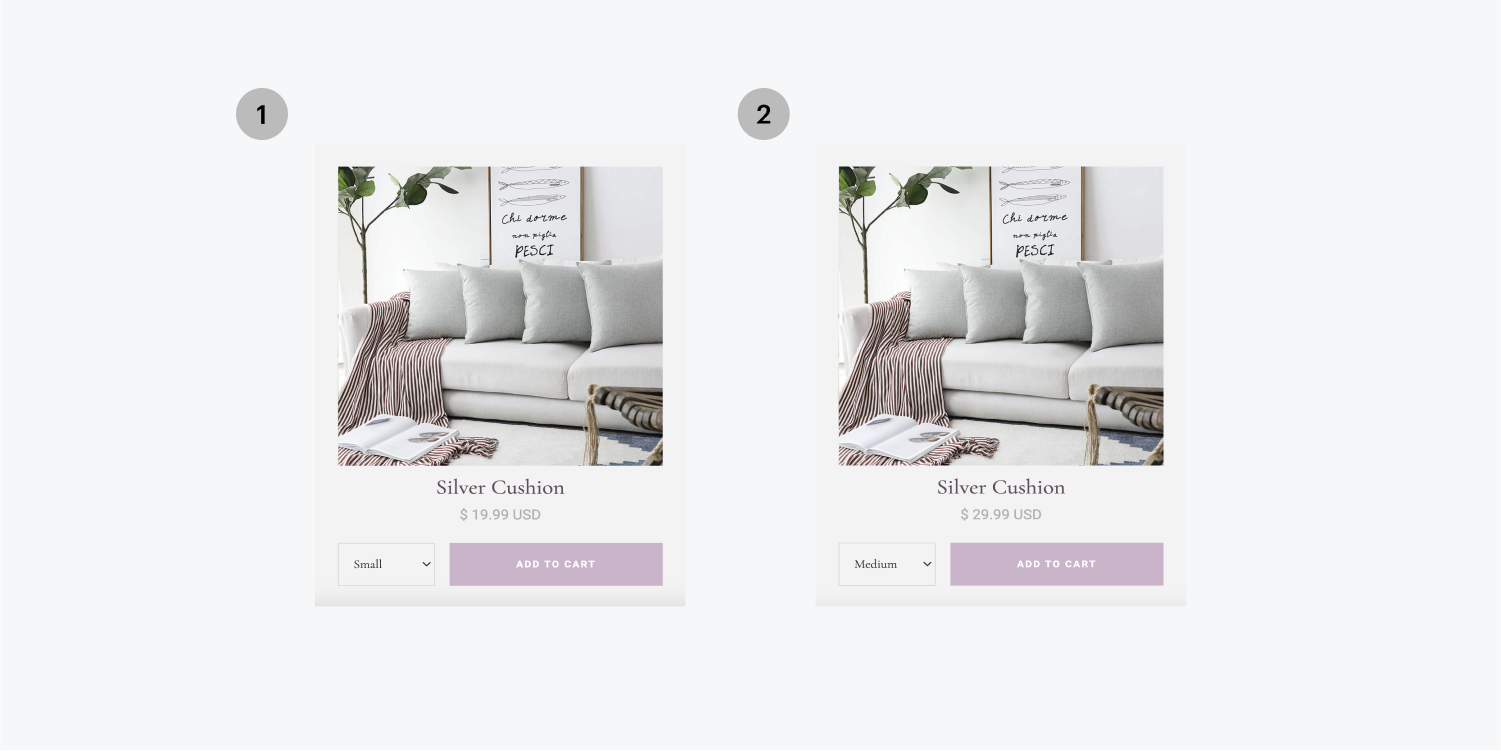 On the left, option 1 is a size small silver cushion product. On the right, option 2 is a size medium silver cushion product.