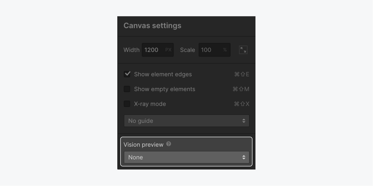 The Canvas settings modal shows the Vision preview section of the modal highlighted.