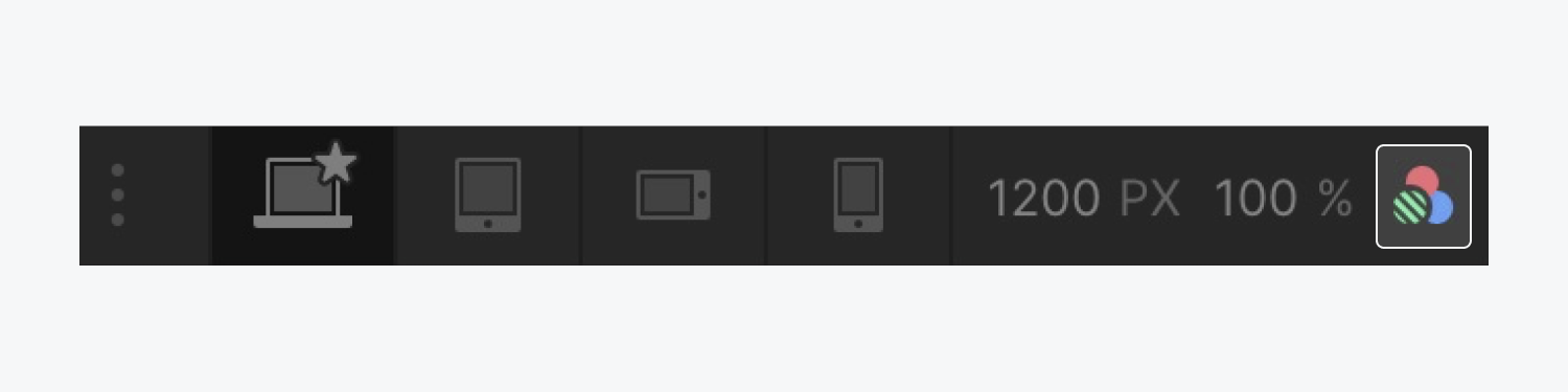 When you have selected a type of vision to preview from the Vision preview dropdown, it's indicated by three overlapping circles in the top of the Designer's Canvas settings area.