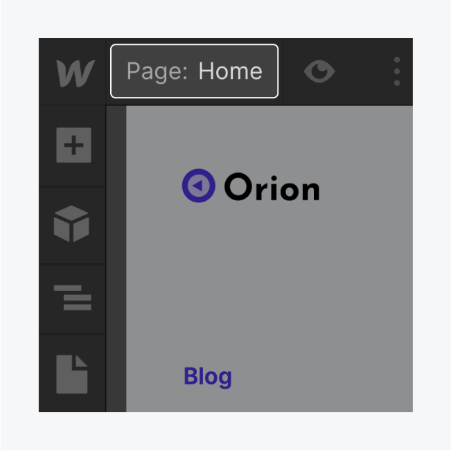 The designer displays a highlighted Page name, Home.