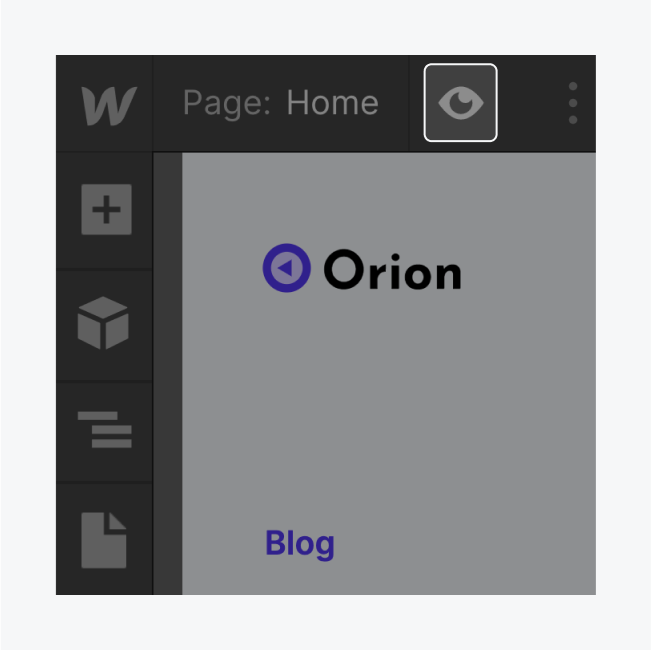 The designers displays a highlighted toggle preview button.