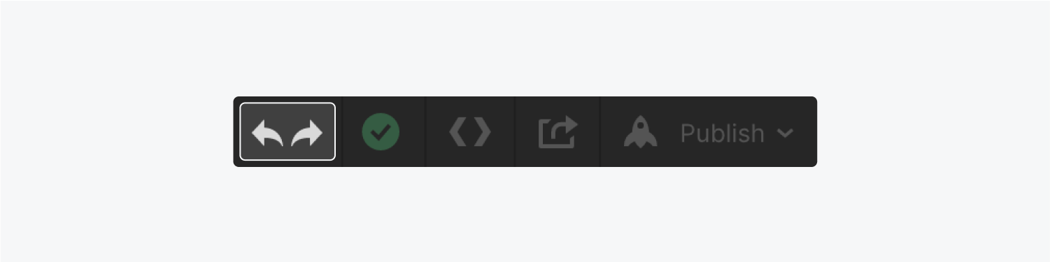 The top bar displays arrows for undo and redo (highlighted), a changes status indicator, export code button, share project and publish button.