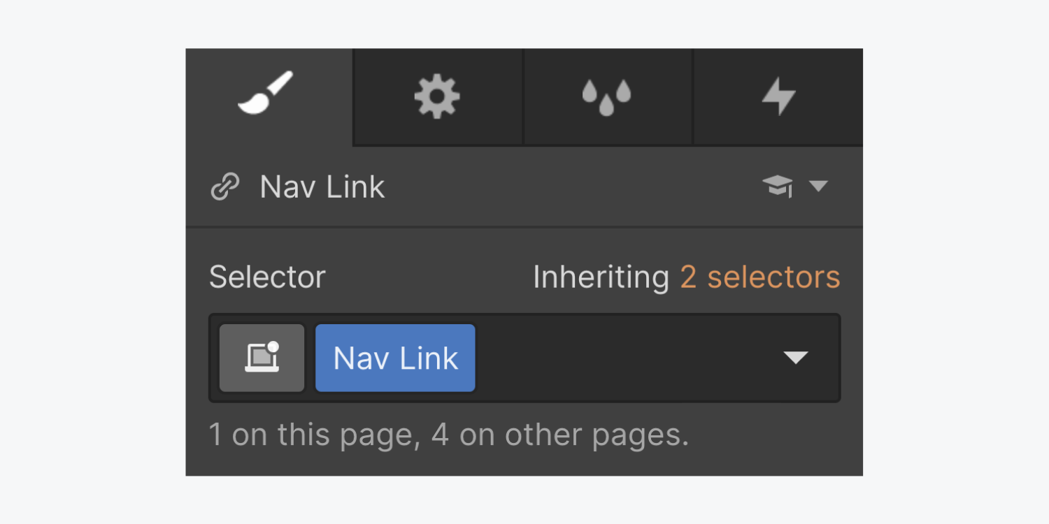 The style panel displays a nav link selected with a class name Nav Link. It also displays how many are on this page, 1, and on other pages, 4.