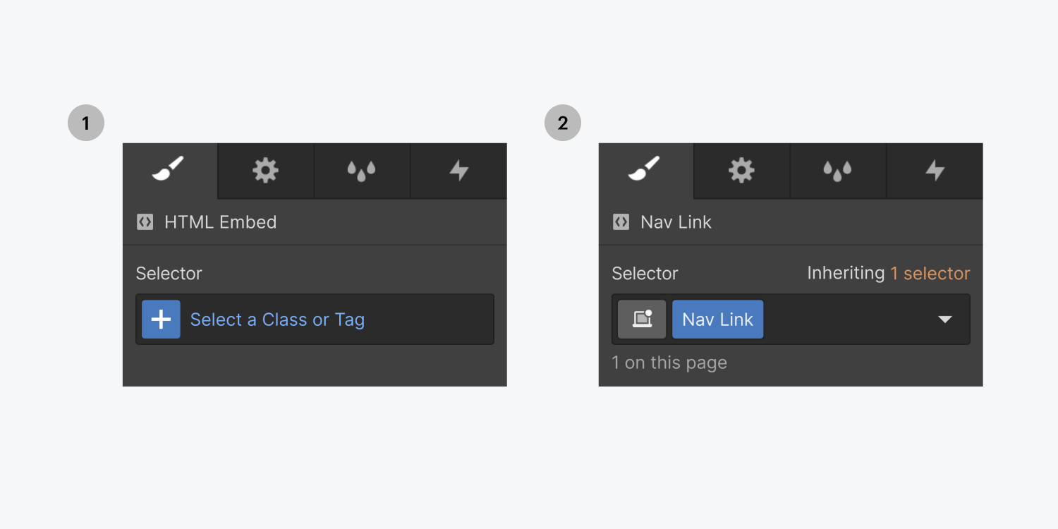 Step one on the left, click the plus icon inside the selector. Step two on the right, name the new class Nav Link.