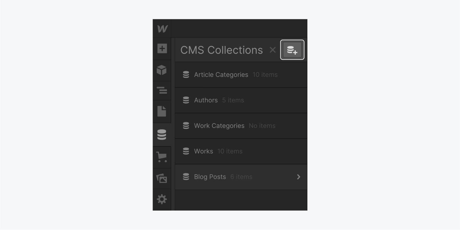 """The CMS Collections panel displays five lists and it includes a """"Create new collection"""" button to the right of the close panel icon. The """"Create new collection"""" button is highlighted."""