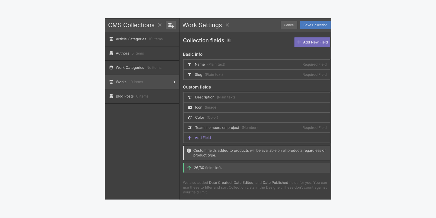 """The Works collection item displays a Basic info section and a Custom fields section. A purple """"Add New Field"""" button is displayed in the top right corner of the panel."""