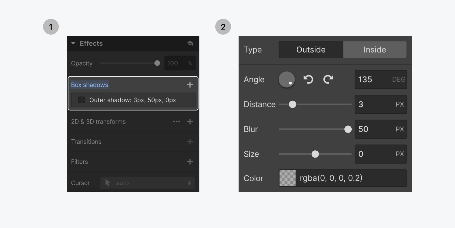 Step one on the left, select the box shadows effect. Step two on the right, the box shadows settings panel displays type, angle, distance, blur, size and color customizations.