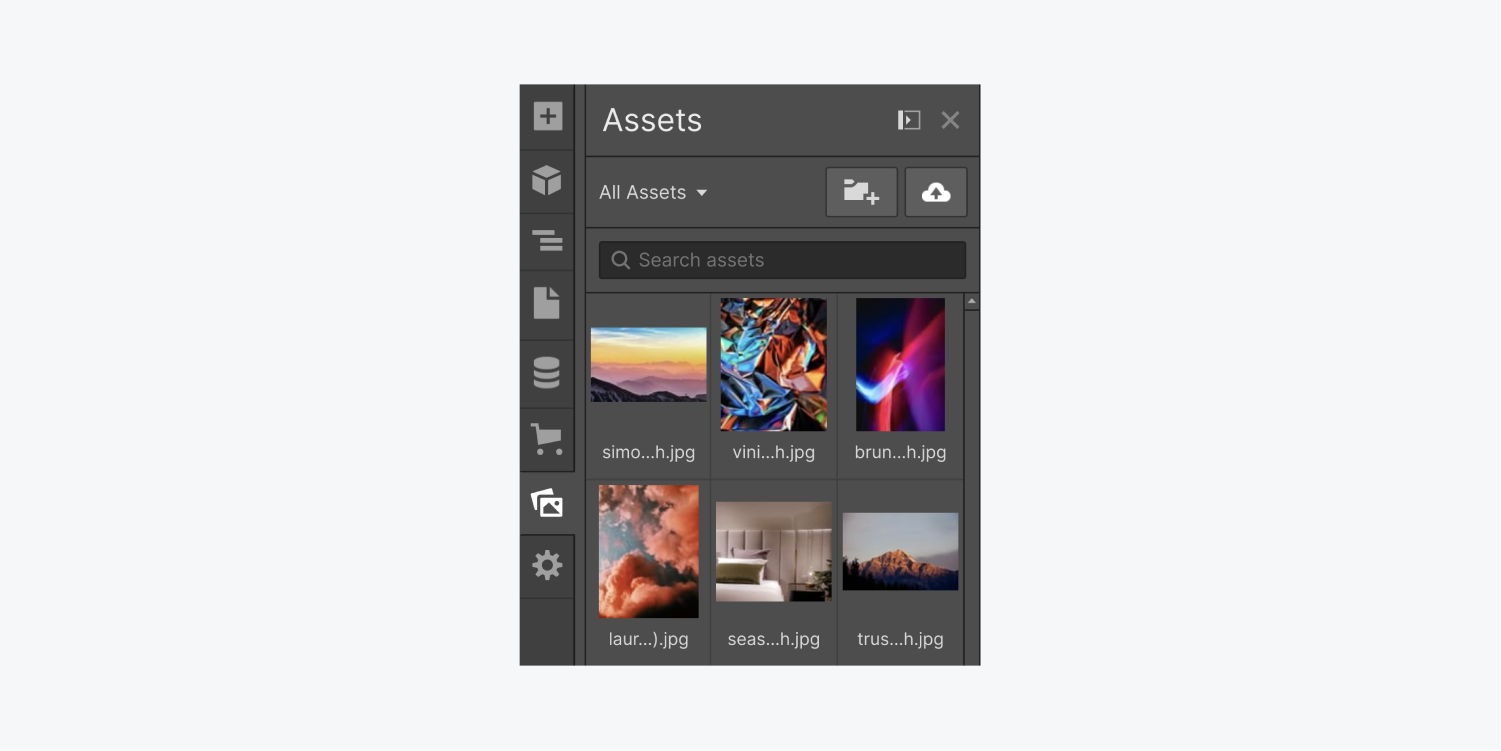 The assets panel displays a folder dropdown menu, create new folder button, upload button, search assets bar and image thumbnail previews.