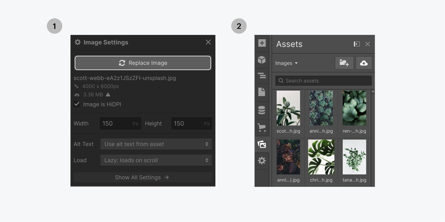 Step one on the left click the replace button, step two on the right select an image from the assets panel.