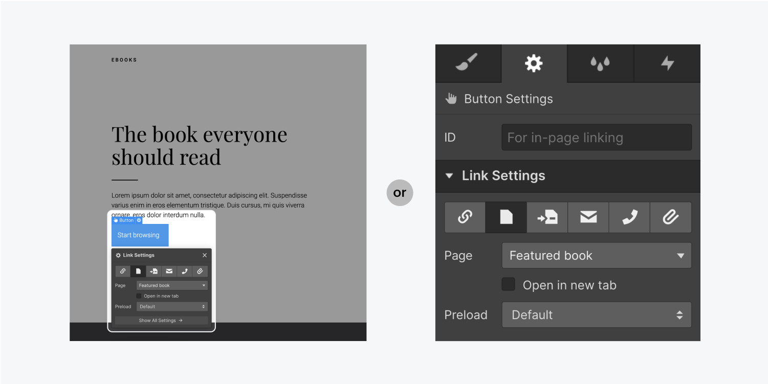 On the left, the cog icon is clicked and the link settings panel is open. On the right, the link settings are open in the element settings panel on the right of the designer.