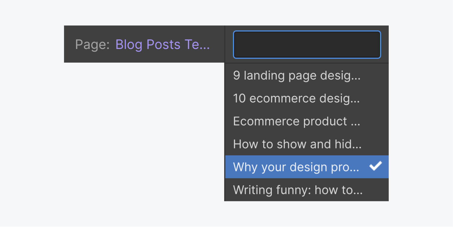 The blog posts template collection page displays a dropdown to select between 6 different pages.