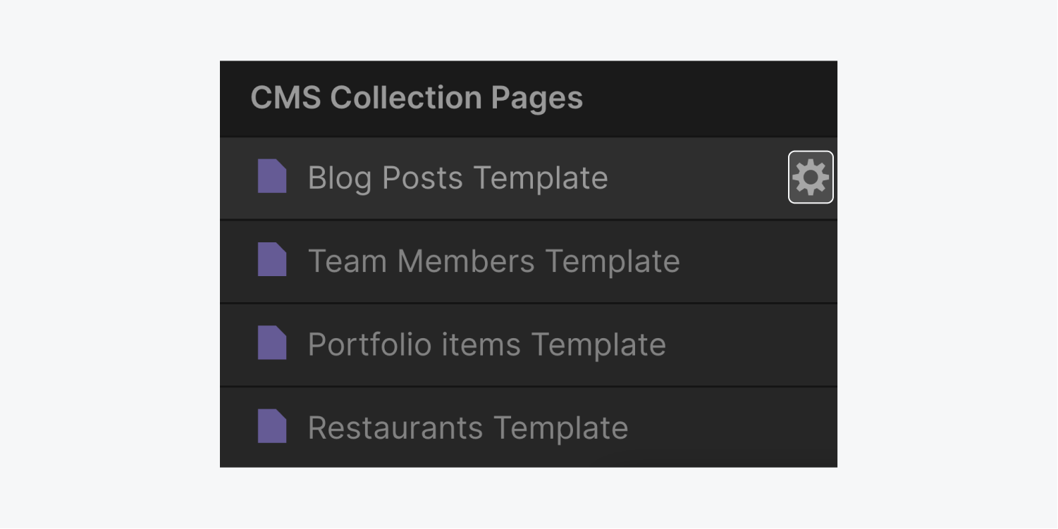 A settings icon is highlighted on a Blog post template page under the CMS collection pages section.