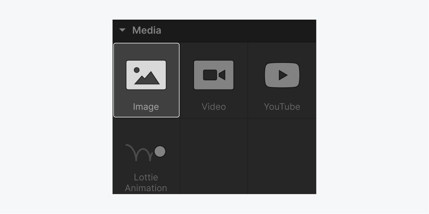 The four elements that are included in the Media section are Image (highlighted), video, YouTube and Lottie Animation.