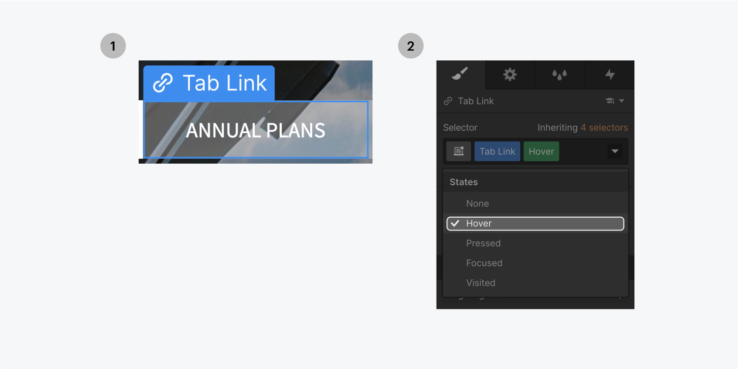 Step one on the left, select the Annual Plans tab. Step two on the right, select Hover (highlighted) in the states drop down menu.