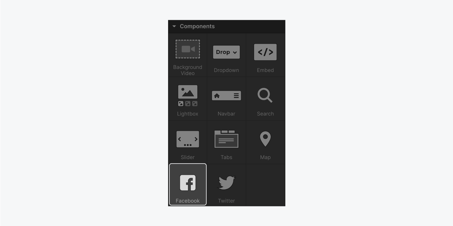 The eleven elements that are included in the components section are background video, dropdown, embed, lightbox, navbar, search, slider, tabs, map, facebook (highlighted) and twitter.