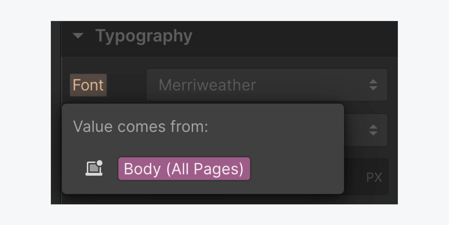 Under the Typography panel, the Font link is clicked and a popup modal window details the Value comes from: Body (All Pages). This popup window is highlighted.