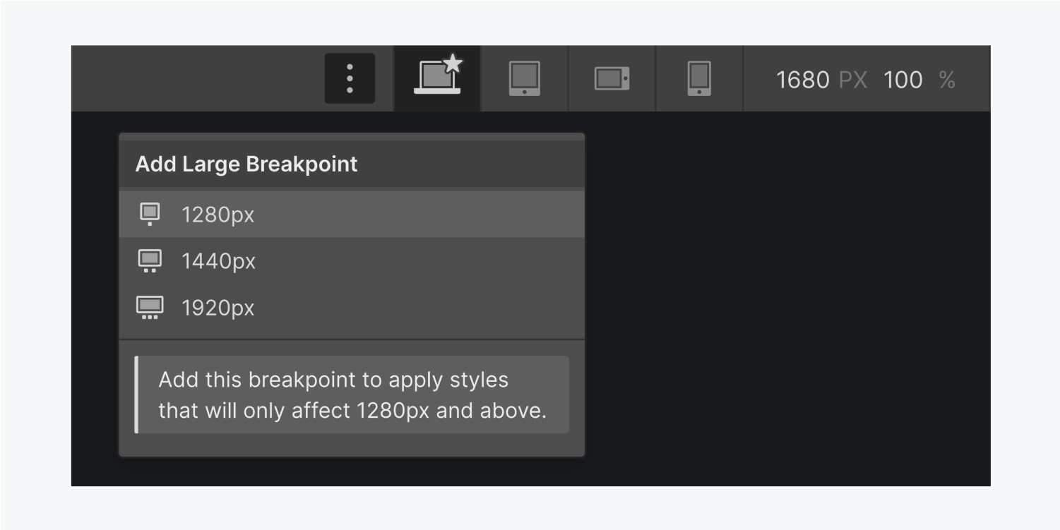 The add large breakpoint settings panel displays three additional breakpoints 1280px, 1440px and 1920px.