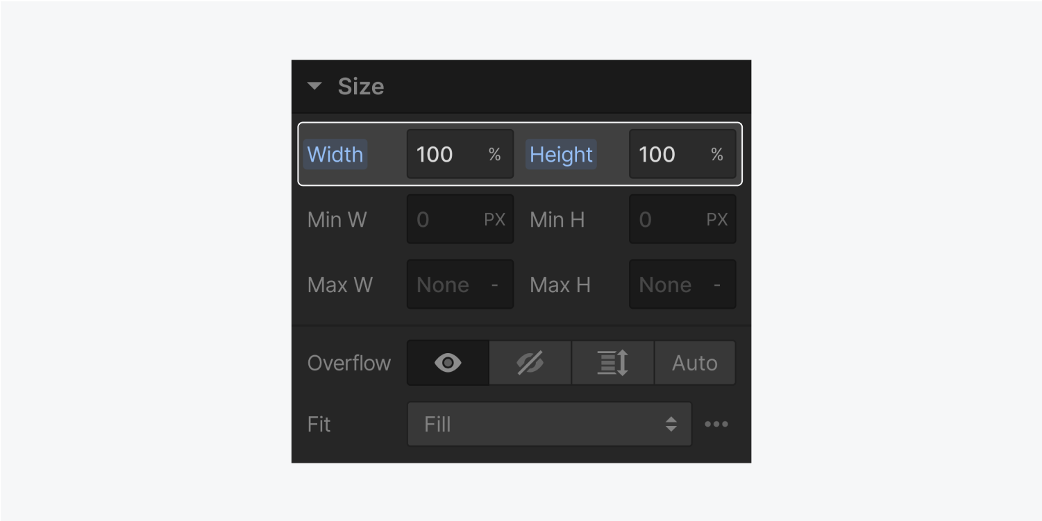 The size section in the style panel displays a width of 100% and a height of 100%. These are highlighted on the panel.