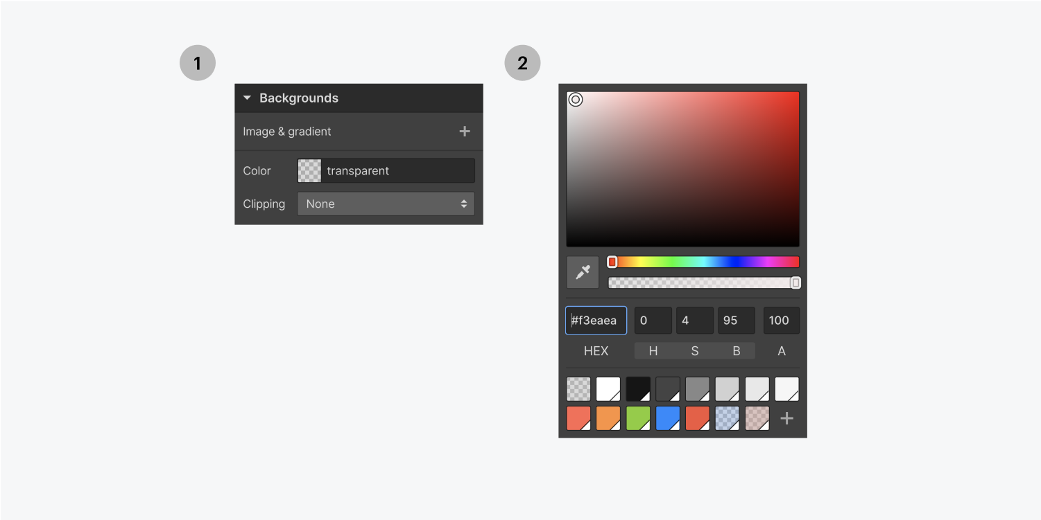 Step one on the left select the color button to open up the color picker, step 2 on the right, select the background color of your choice.