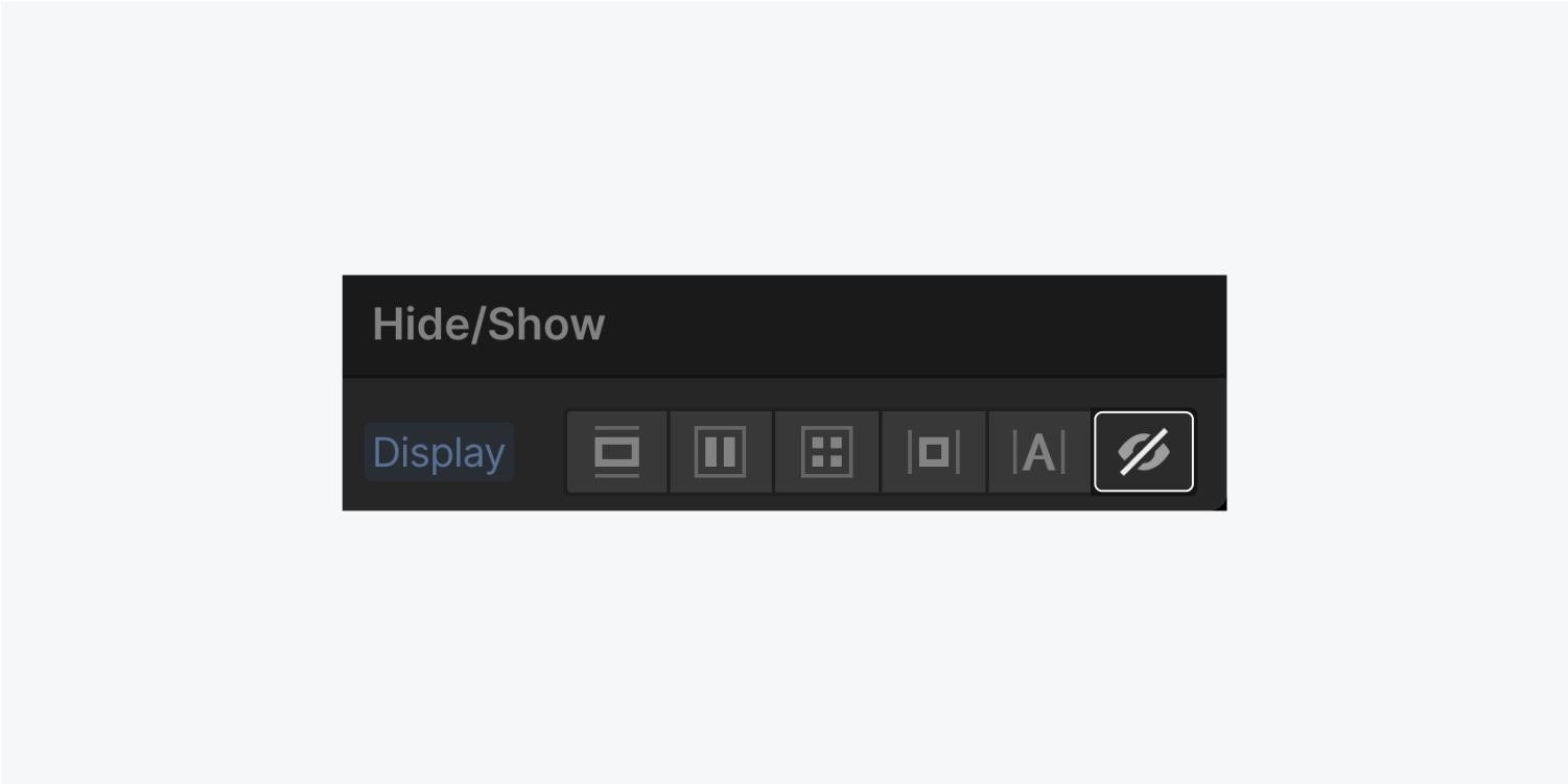 The Hide/show displays the 6 display options. The none option is highlighted.