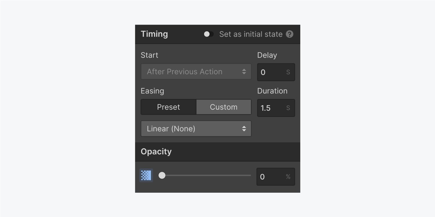 The timing settings panel displays a radio button to set as initial state, a start drop down menu with a delay input field, an easing duration and two settings with a type of ease dropdown menu. The opacity section includes a slider to increase the percentage.