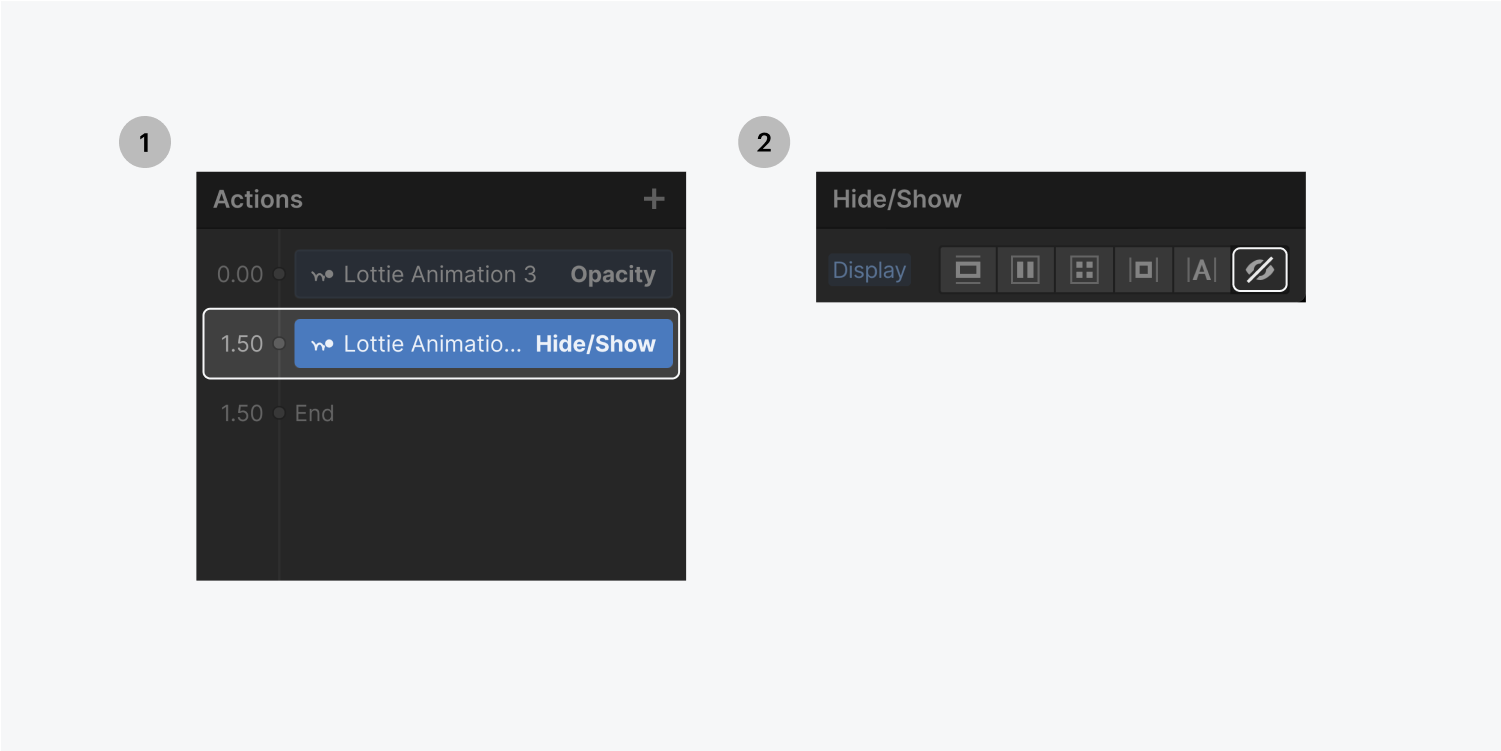 Step one on the left click on the action at the 1.50 timecode, step two on the right, select the none display setting on the Hide/show settings panel.e