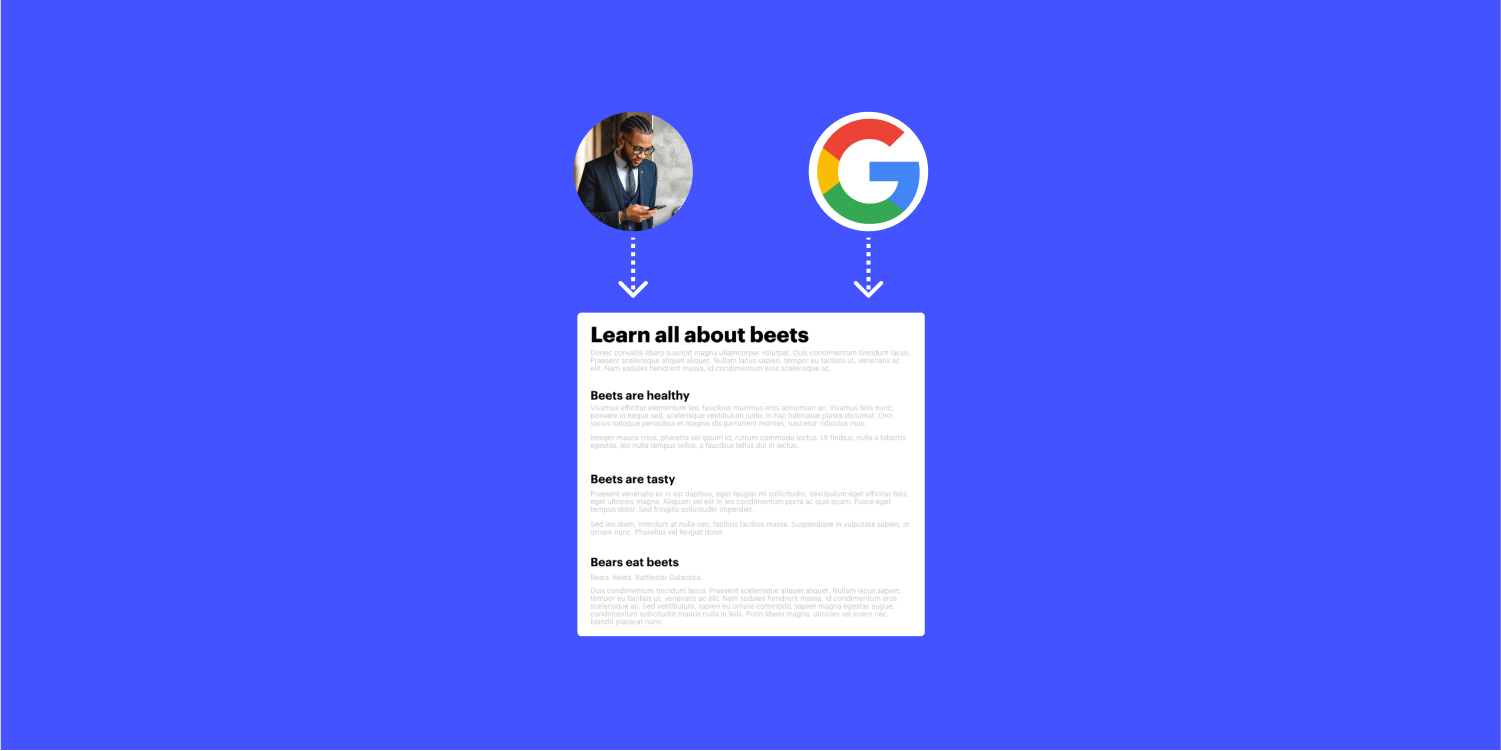 A diagram displaying the concept of a user and a search engine using headings. Below the user and search engine avatar, two arrows point to a mockup article titled Learn all about beets with headings and paragraphs.