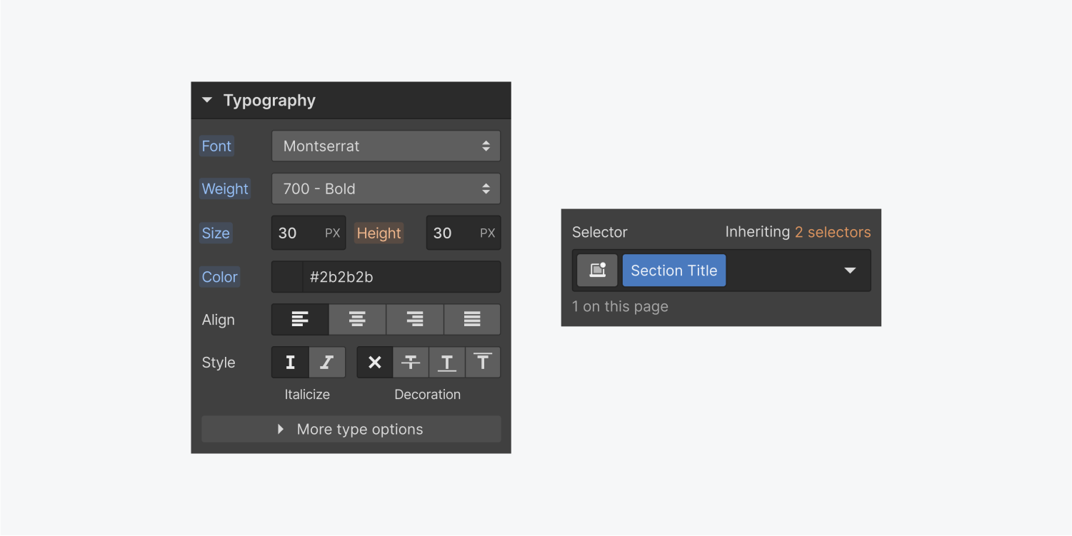 On the left, the typography section of the Style panel displays a font dropdown menu, weight dropdown menu, size, height and color input fields, four align settings, six style options and a more type options button. On the right, a class called Section Title is active in the selector panel.