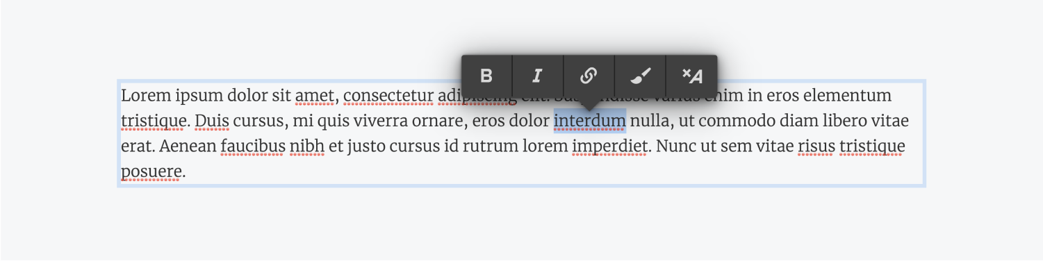 The word iterdum is highlighted within the paragraph text. A text formatting bar is hovering above the word with the 5 text formatting options, bold, italic, insert link, wrap with span and clear formatting.