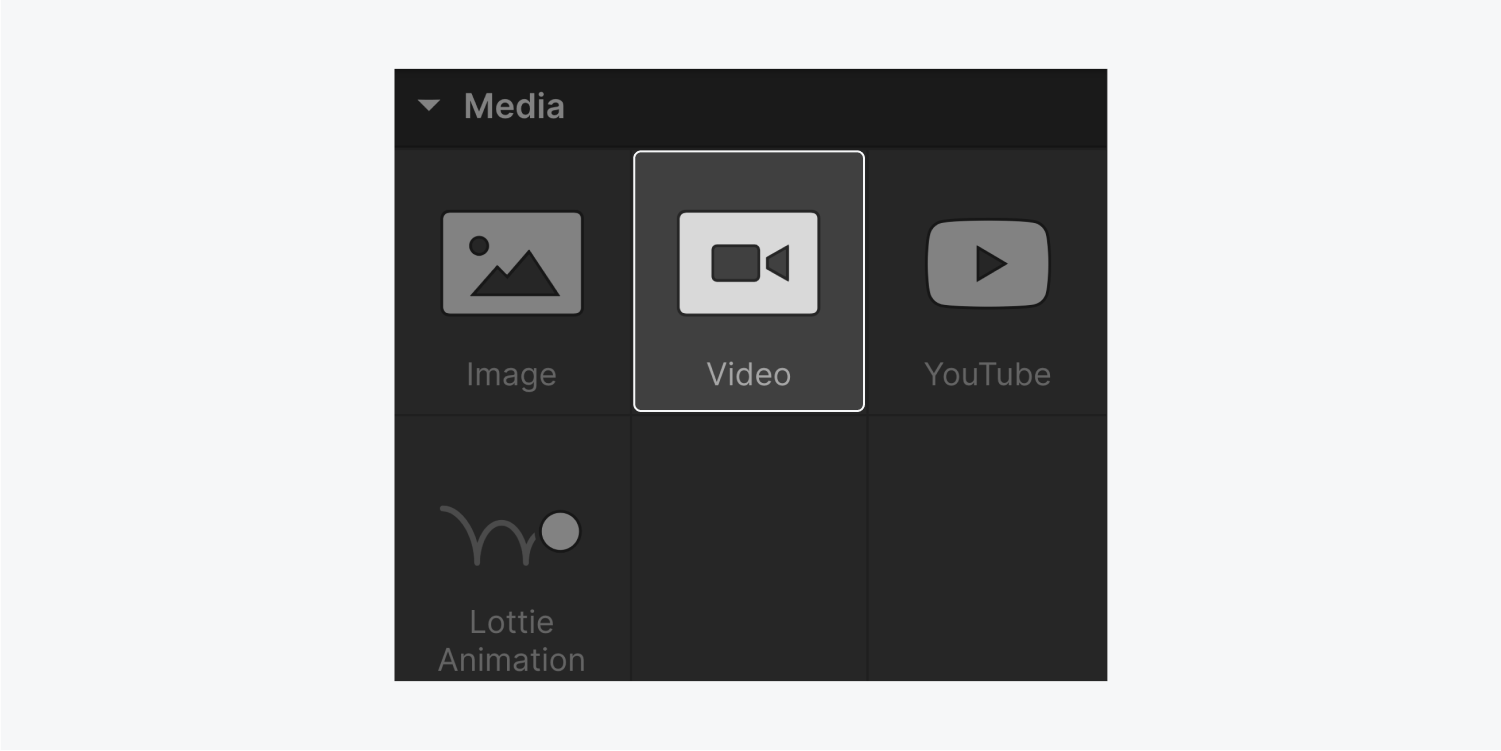 The four elements that are included in the Media section of the add panel are Image, Video (highlighted), youtube and lottie animation.