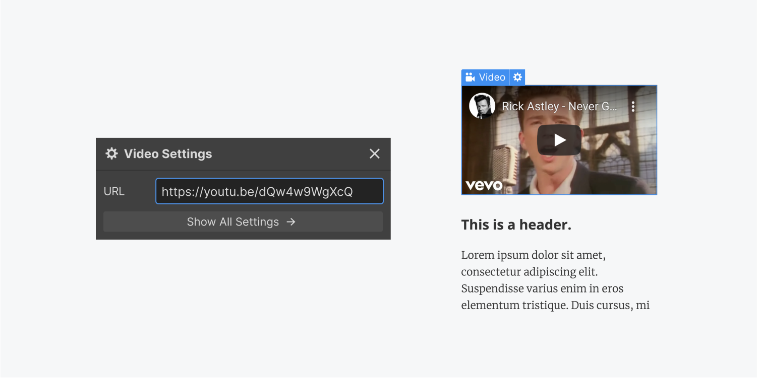 """On the left, the video settings displays a URL input field and a show all settings button. On the right, the YouTube preview of the song """"Never gonna give you up"""" by rick Astley is displayed with a header and paragraph element below."""
