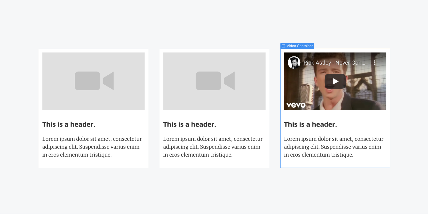 Three video containers with a video preview, header and paragraph element.