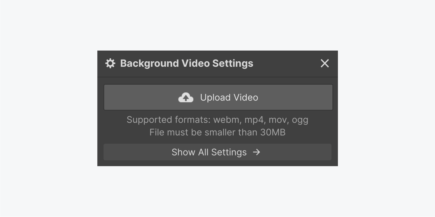 The background video settings panel displays an upload video button and a Show all settings button.
