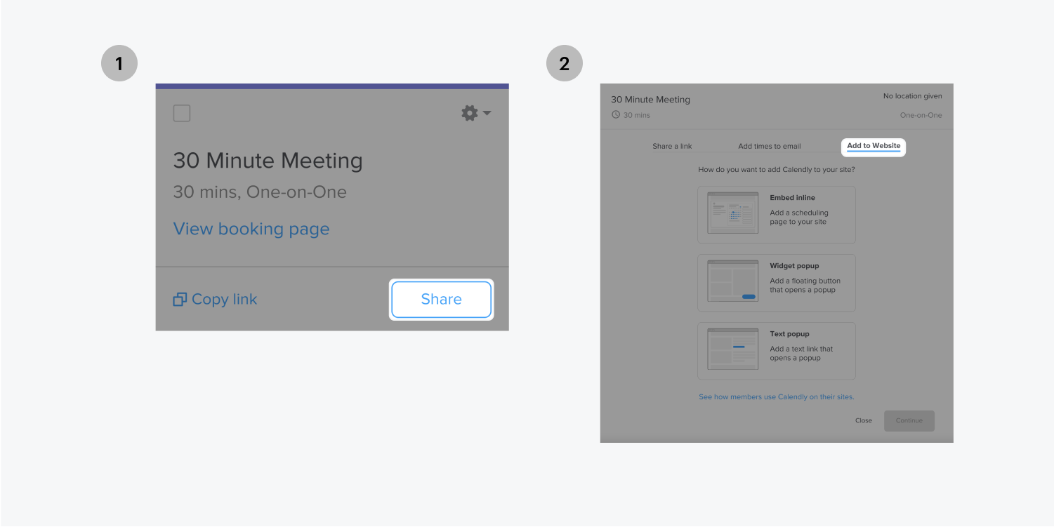 Step one on the left, share the 30 minute meeting. Step two on the right, add to the website link is highlighted.