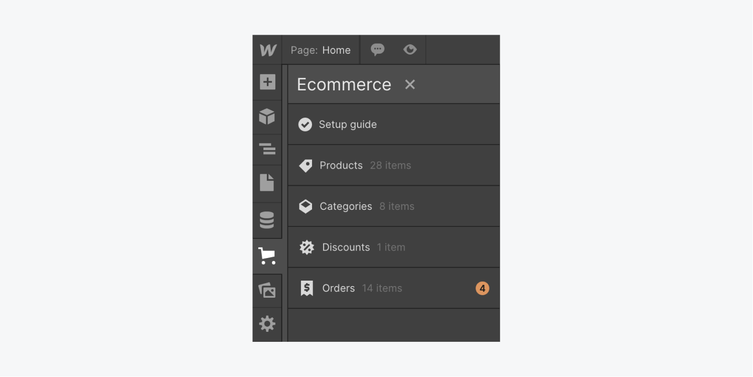 The Ecommerce orders tab in the Webflow Designer indicates 4 new orders.